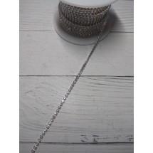Стразы цепочкой (разм.SS6) цв. белый кристалл в розовой оправе, цена за 50 см