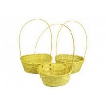 Корзина плетеная (бамбук), цвет желтый